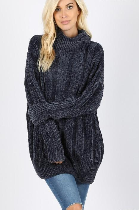 HAZEL CABLE PULLOVER NAVY*