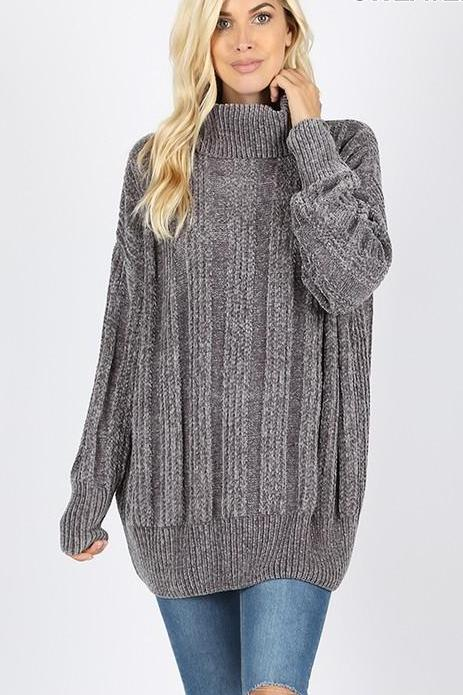 HAZEL CABLE PULLOVER GREY*