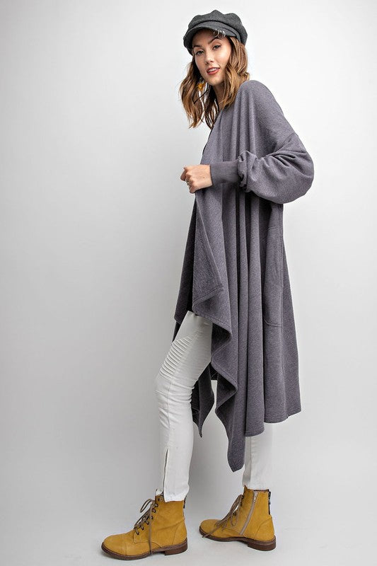 ALEX MAXI CARDIGAN GREY-