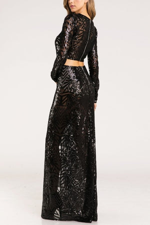 KENNEDY SEQUIN MAXI SKIRT BLACK*