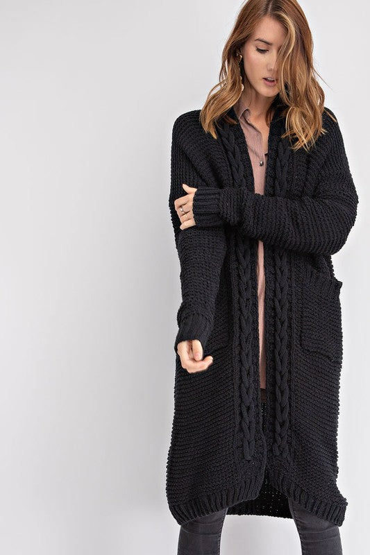 ROWAN BRAIDED CARDIGAN BLACK