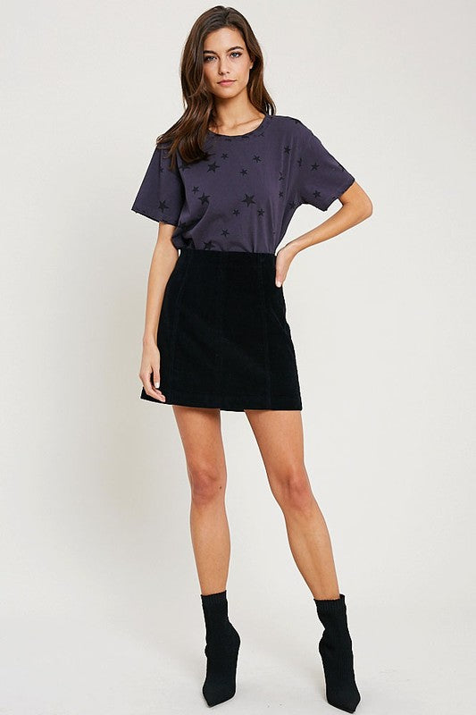 CINDY CORDUROY MINI SKIRT BLK