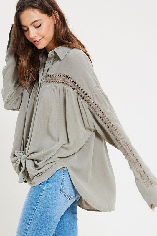 BECK BUTTON DOWN TOP OLIVE