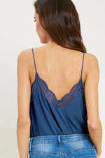 AVA LACE TRIM TANK BLUE