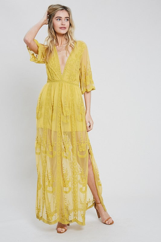 ECLAIR EMBROIDERED MAXI DRESS MUS