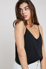 SADIE BUTTONDOWN CAMI BLACK