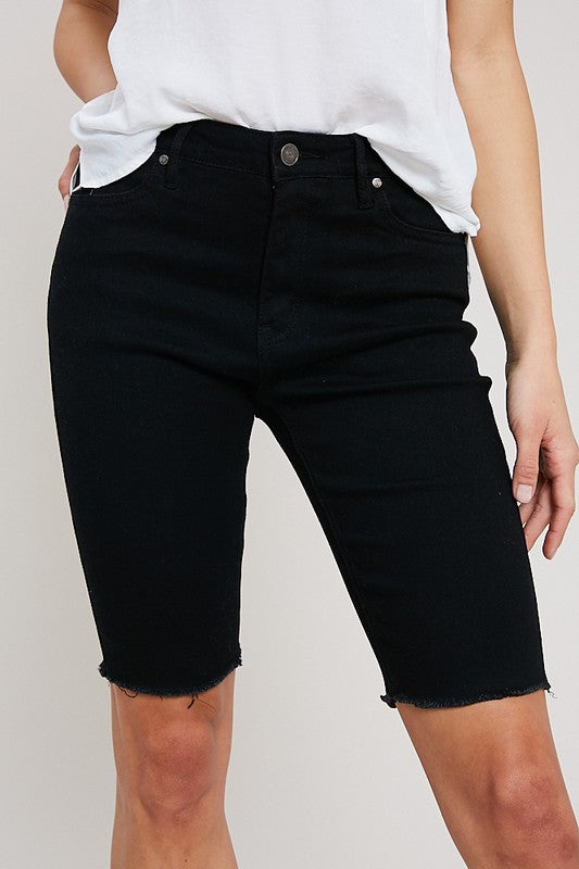 RIDER MID THIGH DENIM SHORTS