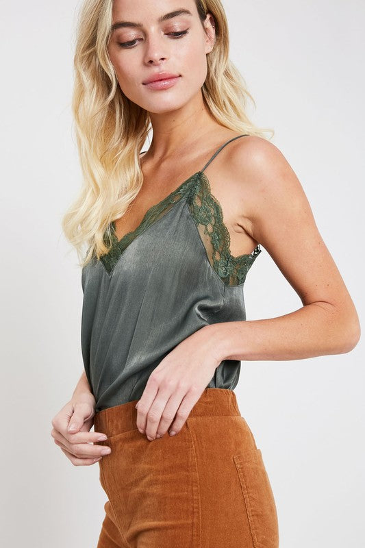 PEACHES LACE TRIM CAMI GREEN