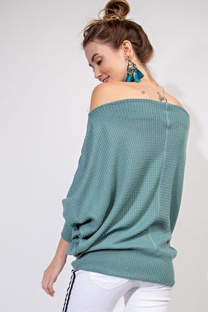 ROXY OFF SHOULDER THERMAL GRN-