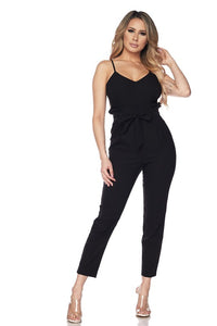 RONNIE TIE FRONT JUMPSUIT BLACK