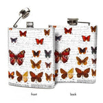 Oso + Bean - White Butterflies Pattern Hip Flask