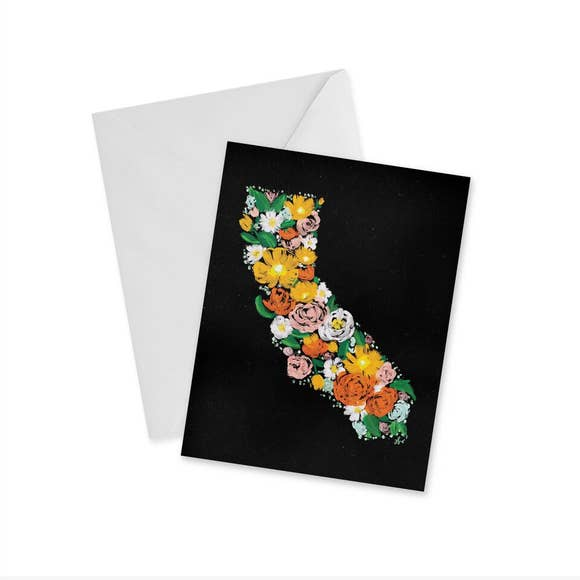 FLORAL CALIFORNIA GREETING CARD