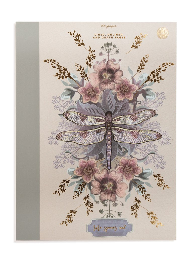 CLOTH BOUND NOTEBOOK, DRAGONFLY