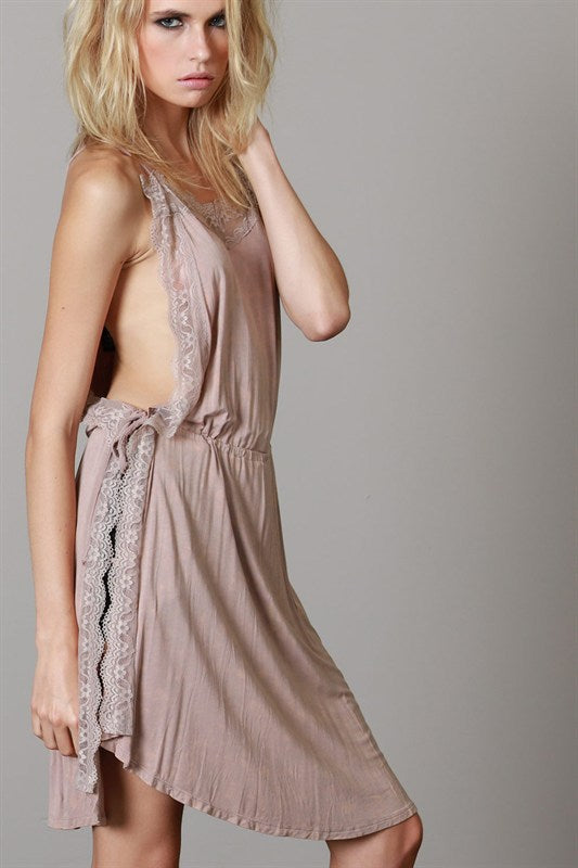 OPEN SIDE LACE TUNIC BEIGE-