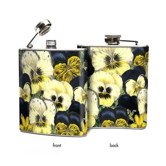 Pansies Hip Flask