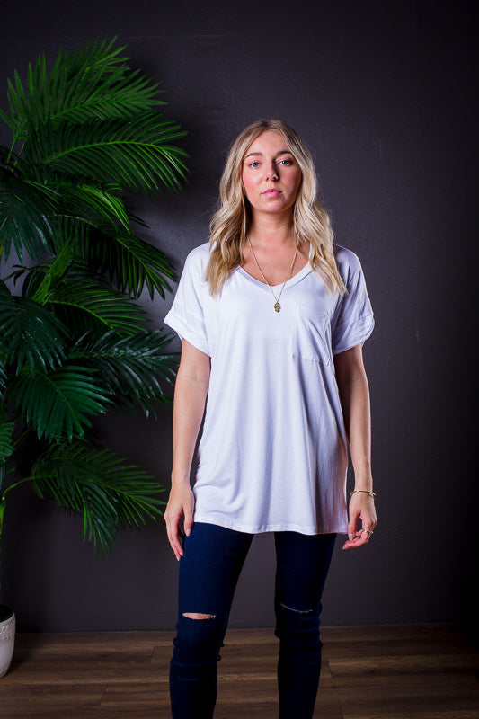 DARIA V NECK TEE WHITE *
