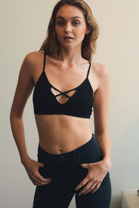 CARRIE CROSS BRALETTE BLACK