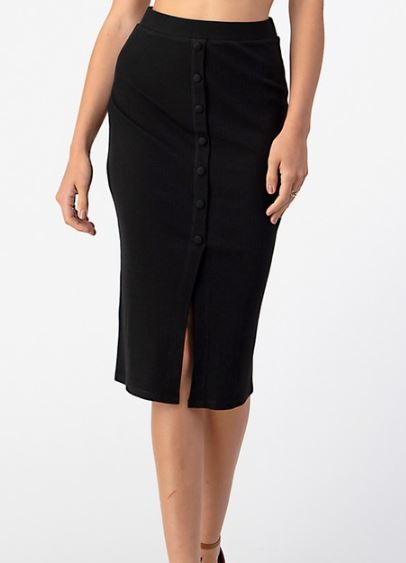 ANDI BUTTON DOWN MIDI SKIRT