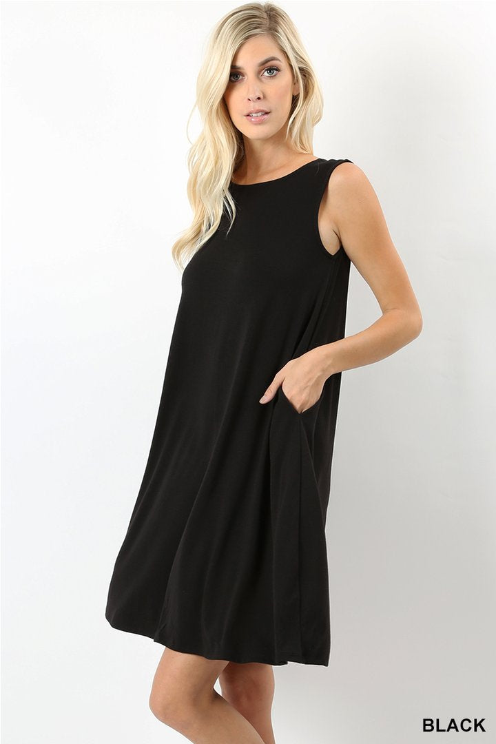 JULIEN SOLID MINI DRESS BLACK