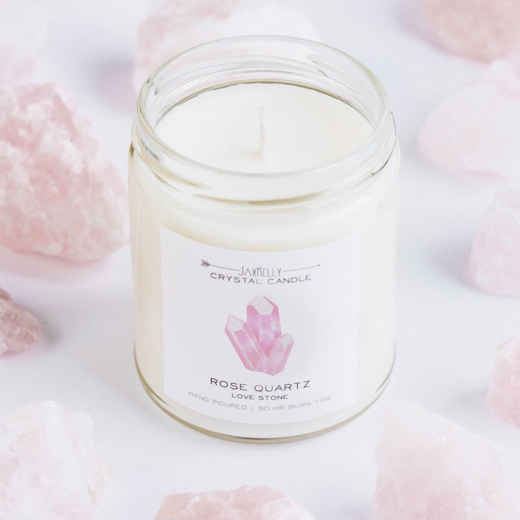 JaxKelly - Rose Quartz Crystal Candle