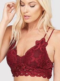 AXEL LACE STRAPPY BRALETTE BURGUNDY-