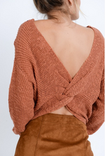RUTHIE TWIST BACK SWEATER RUST