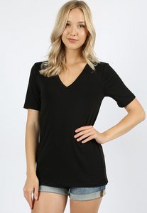 GEORGIA V NECK TEE BLACK