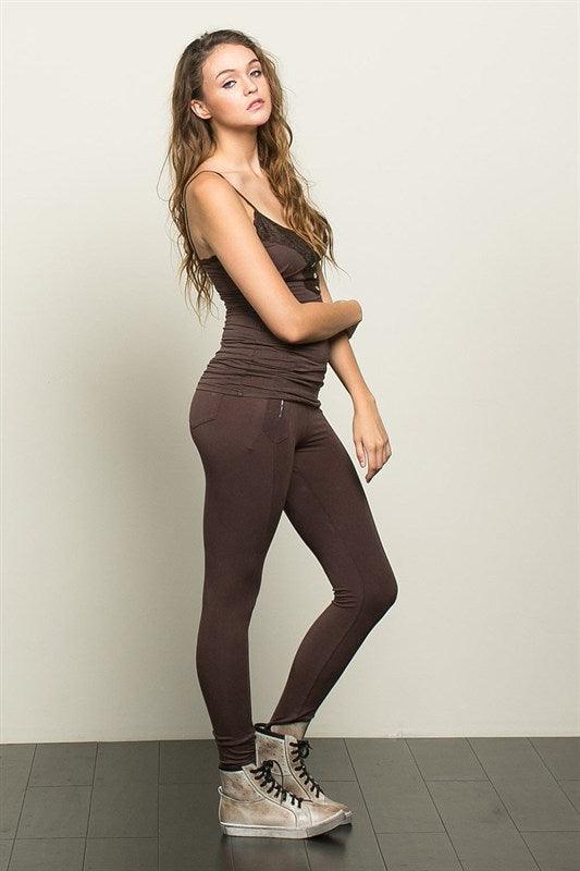 LACE CAMI BROWN-
