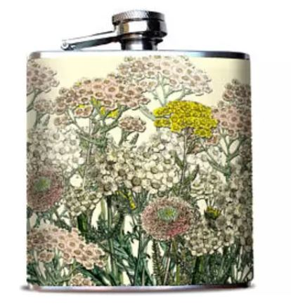Oso + Bean - Ivory & Pale Pink Flowers Hip Flask