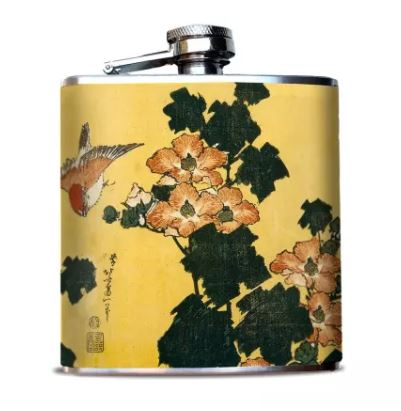 Oso + Bean - Japanese Sparrows + Poppies Hip Flask
