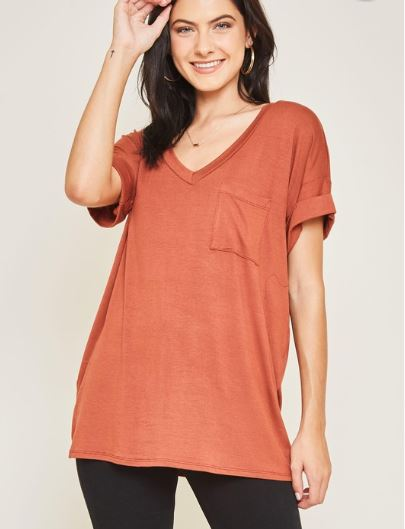 DARIA V NECK COPPER