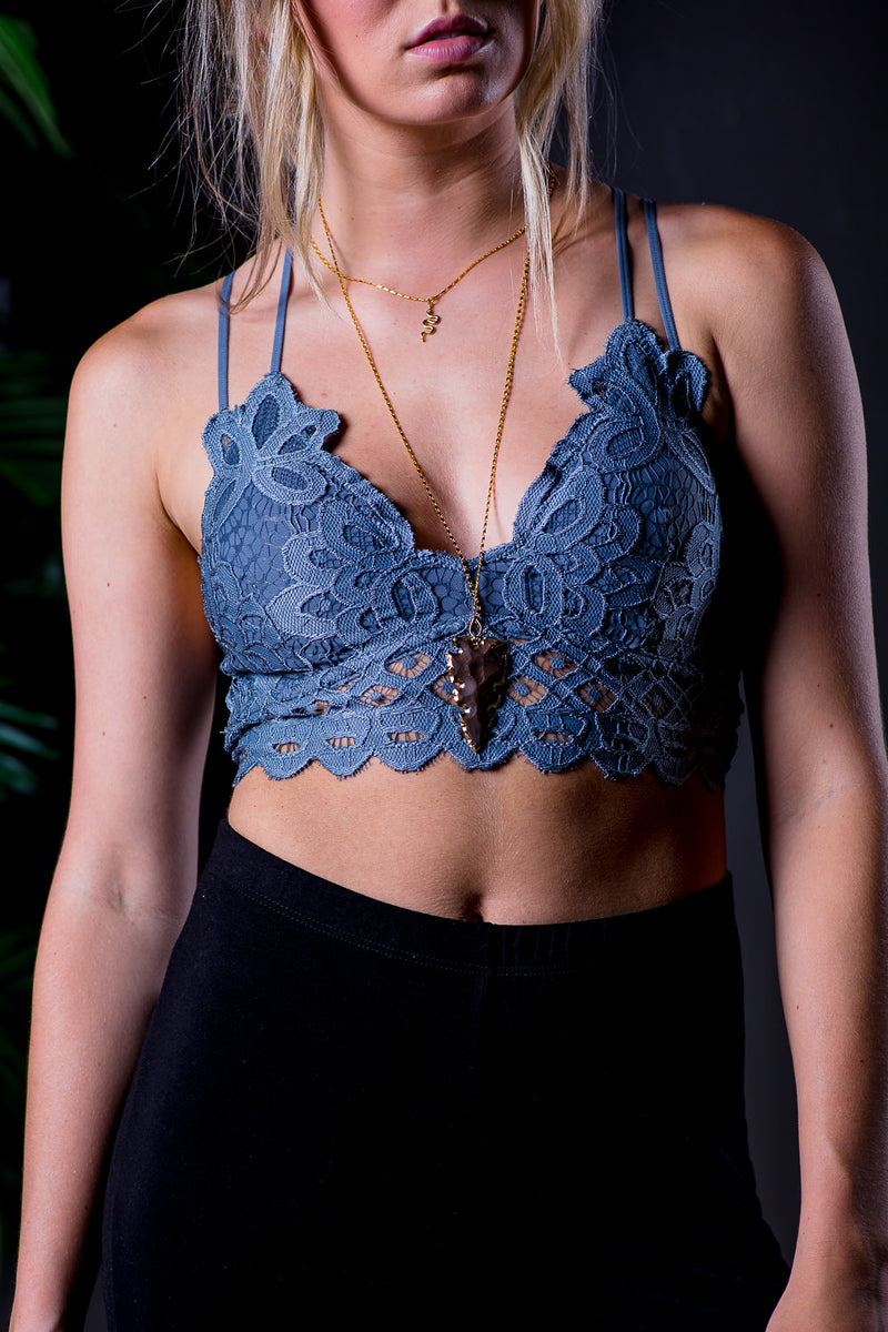 AXEL LACE STRAPPY BRALETTE BLUE