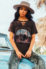 VINTAGE LACE UP GRAPHIC TEE