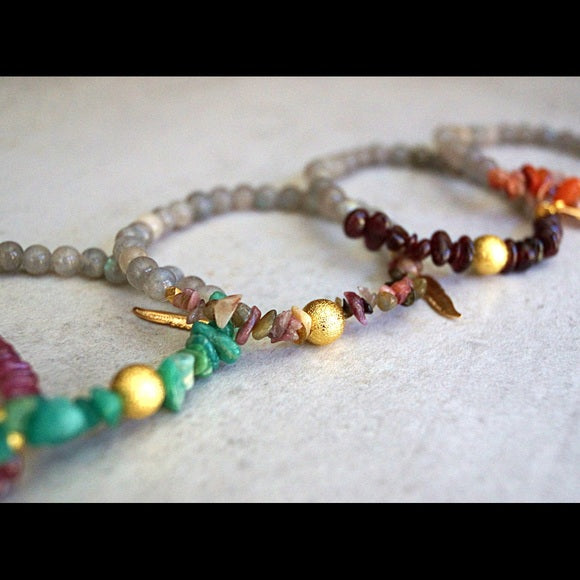 GEMSTONE AND LABRADORITE BRACELETS