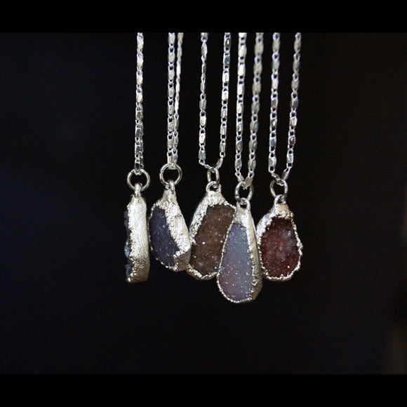 NATURAL DRUZY SILVER NECKLACE