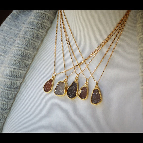 NATURAL DRUZY GOLD NECKLACE