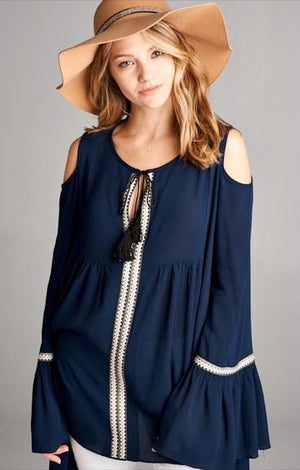 BELL SLEEVE TUNIC BLUE-