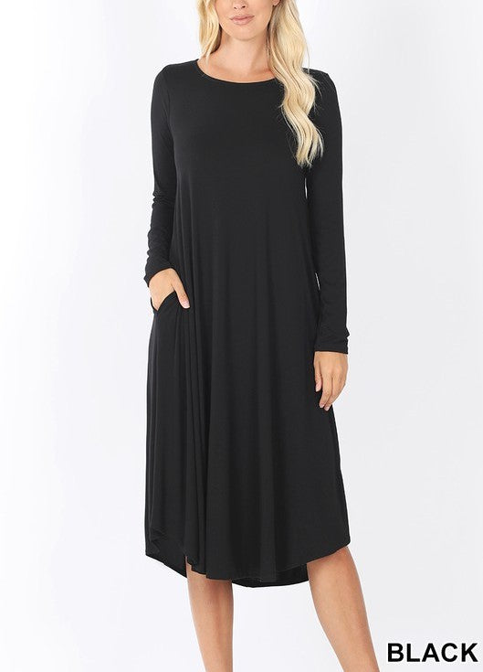 BETH SOLID MIDI DRESS BLACK