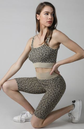 KIKI LEOPARD PRINTED BIKE SHORTS NUDE