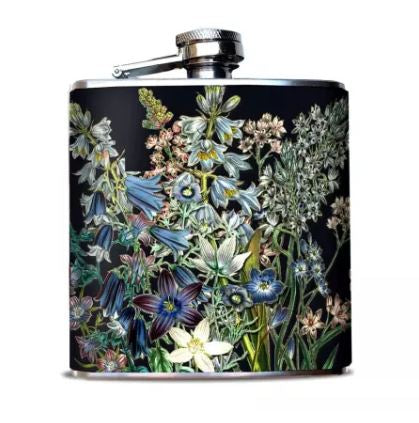 Oso + Bean - Blue Flowers Flask 6 oz Hip Flask