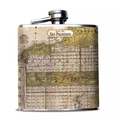 Oso + Bean - San Francisco, CA Map Hip Flask