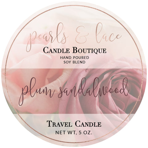 Plum Sandalwood Travel Candle-Travel Candle-Pearls & Lace Candle Boutique