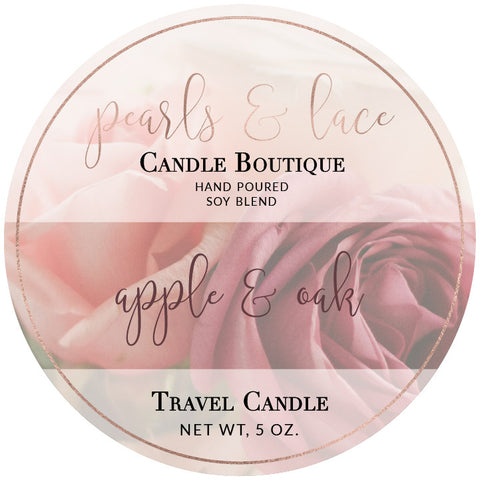 Apple & Oak Travel Candle-Travel Candle-Pearls & Lace Candle Boutique