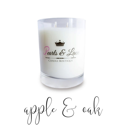Apple & Oak 10oz Luxe Candle-Luxe Candles-Pearls & Lace Candle Boutique
