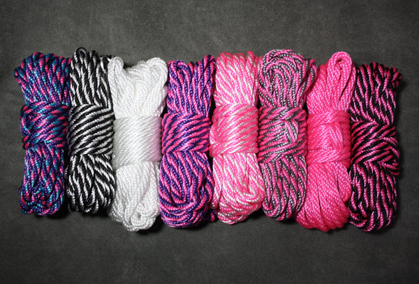 "Blacklight Reactive Bondage Rope - 1/4"" / 6mm - Solid Braid MFP - Soft - For Shibari - Custom Length"