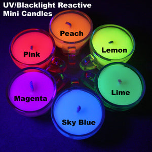 Blacklight Reactive Mini Teacup Wax Play Candle - Low Temp - Unscented - UV Reactive Candle