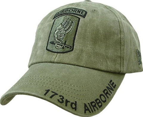 173rd Airborne Insignia Hat / U.S. Army Sky Soldiers OD Green Baseball Cap - Veteran Tees