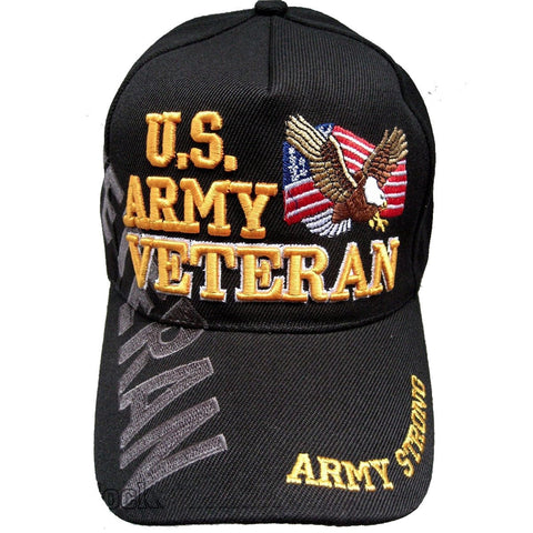 LIMITED EDITION U.S. Army Veteran Cap/Hat w/Flag & Eagle Adjustable Black Military - 50% OFF WHILE SUPPLIES LAST! - Veteran Tees - 1