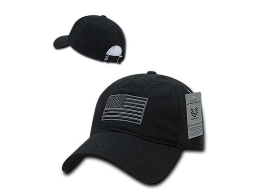 Black US American Flag Polo Baseball Hat - Veteran Tees - 1