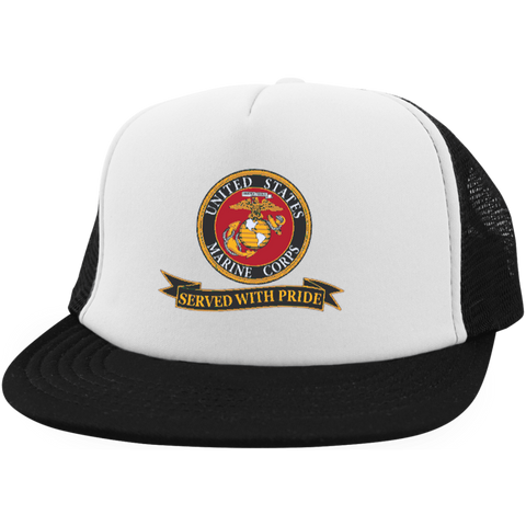 USMC Served With Pride Trucker - Veteran Tees